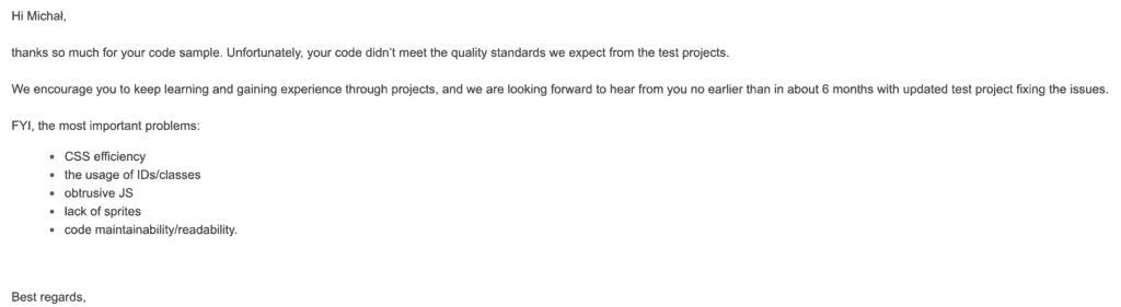 Część feedbacku, którydostałem ponieudanej rekrutacji.