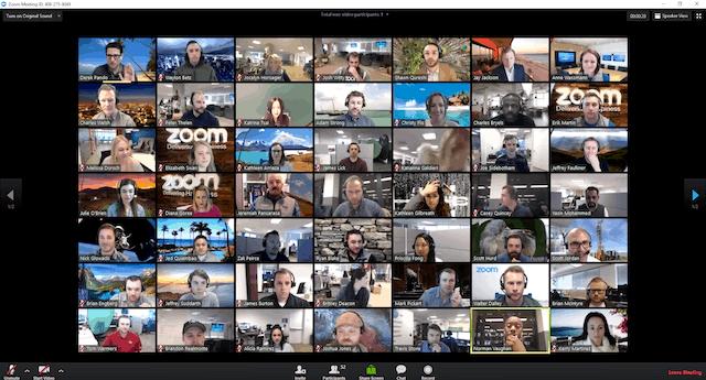 Screenshot przedstawiający wideokonferencję Zoom, wktórejudział bierze 49 osób